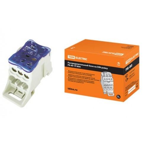 Распределительный блок на DIN-рейку РБ-80 1П 80А TDM SQ0823-0001