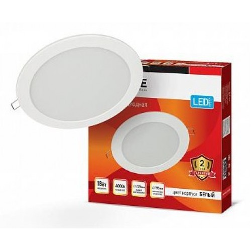 Панель светодиодная круглая RLP-eco 18W 230V 4000K 1080Лм 225/195мм белая IP40 IN HOME
