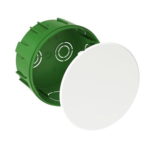 Коробка распаячная 100x50 с/у для твердых стен кругл. зелен. с белой крышкой SCHNEIDER IMT351211