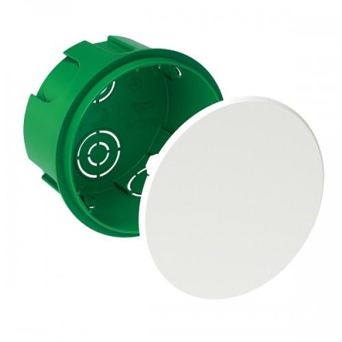 Коробка распаячная 70x40 с/у для твердых стен кругл. зелен. с белой крышкой SCHNEIDER IMT35120