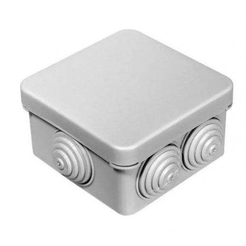 Коробка расп. ОП 100х100х50 cерая с крышкой 6 вводов с саморезами IP55 Greenel GE41234 (48шт)