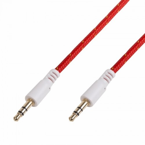 Аудио кабель AUX 3,5 мм в тканевой оплетке 1м красный REXANT 18-4076