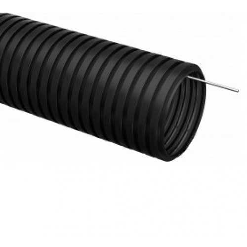Труба гофрированная ПНД d50 c зондом тяжелая безгалогенная (15м) Промрукав 25041