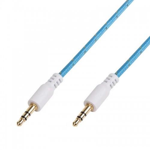 Аудио кабель AUX 3,5 мм в тканевой оплетке 1м синий REXANT 18-4072-9