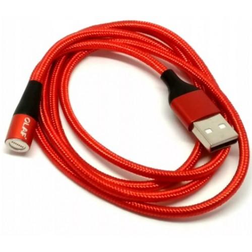 Шнур микро-USB 3А магнитный красный 2м FONKEN Китай