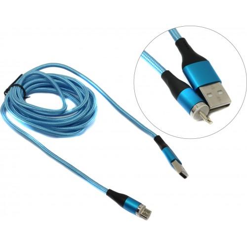 Шнур USB с магнитным штекером micro-USB синий 1 м FONKEN 12962