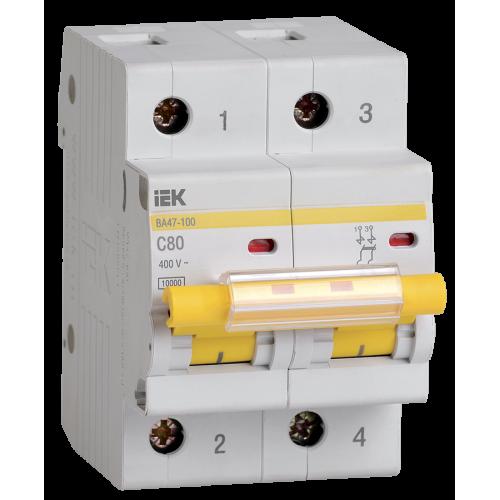 Автоматический выключатель ВА47-100 80А 2Р Х-ка С ИЭК MVA40-2-080-C