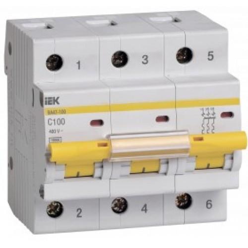 Автоматический выключатель ИЭК ВА 47-100 3Р 100А 10к Хар-ка С ИЭК MVA40-3-100-C