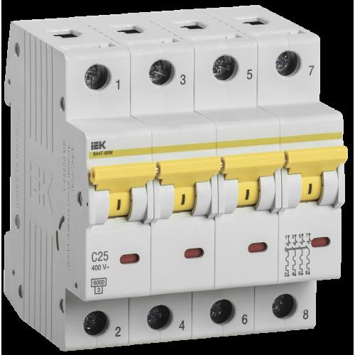 Автоматический выключатель ВА 47-60 4Р 25А 6 кА  х-ка С ИЭК