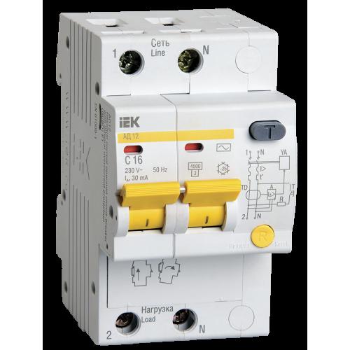 Автоматический выключатель диф. тока ИЭК 2Р C16А 30мА АД12  (дифавтомат)