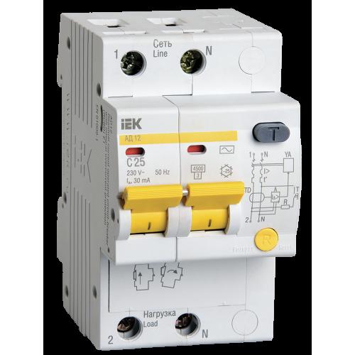 Автоматический выключатель диф. тока ИЭК 2Р C25А 30мА АД12 (дифавтомат)