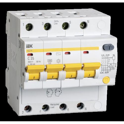 Автоматический выключатель диф. тока ИЭК 4Р 6,5мод. С25А 30мА тип АС 4,5кА АД-14