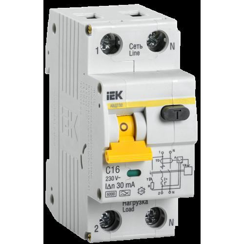 Автоматический выключатель диф. тока ИЭК АВДТ32 С16 (2мод.) ИЭК