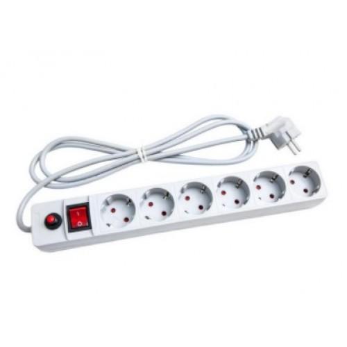 Удлинитель сетевой фильтр c выкл. 6мест 3м ПВС3х0,75мм2 белый UNIVersal  967U-3003