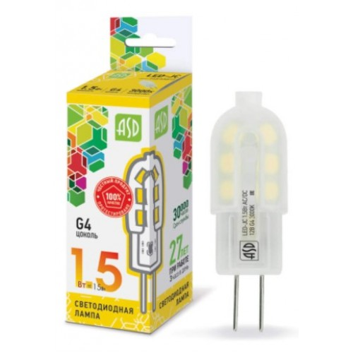 Лампа светодиодная 12V LED-JC-standard 1,5W G4 3000K ASD