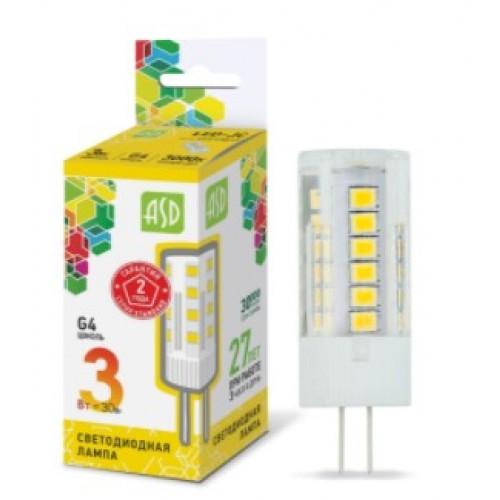 Лампа светодиодная 12V LED-JC-standard 3W G4 3000K ASD