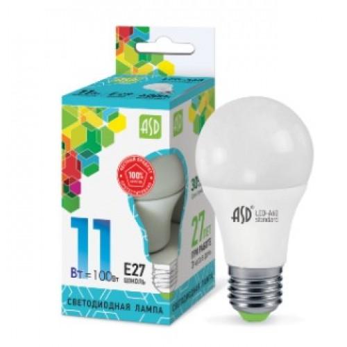 Лампа светодиодная LED-A60-standard 11W 160-260V E27 4000K ASD