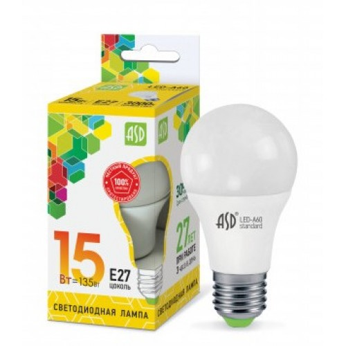 Лампа светодиодная LED-A60-standard 15W 160-260V E27 3000K ASD