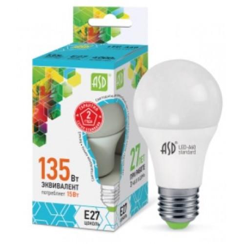 Лампа светодиодная LED-A60-standard 15W 160-260V-E27 4000K ASD