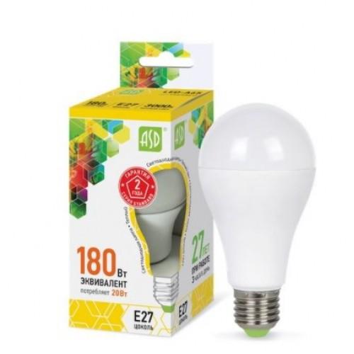 Лампа светодиодная LED-A60-standard 20W 160-220V E27 3000K ASD