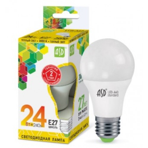 Лампа светодиодная LED-A65-standard 24W 230V E27 3000K ASD