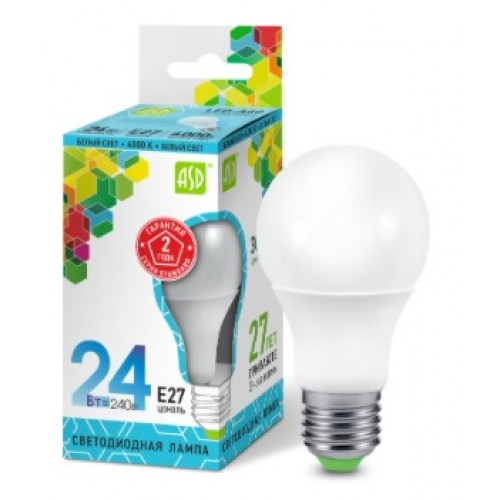 Лампа светодиодная LED-A65-standard 24W 230V E27 4000K ASD