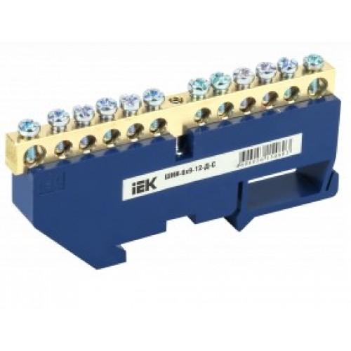 Шина нулевая на DIN-изоляции ШНИ-6х9-12-Д-С синяя ИЭК