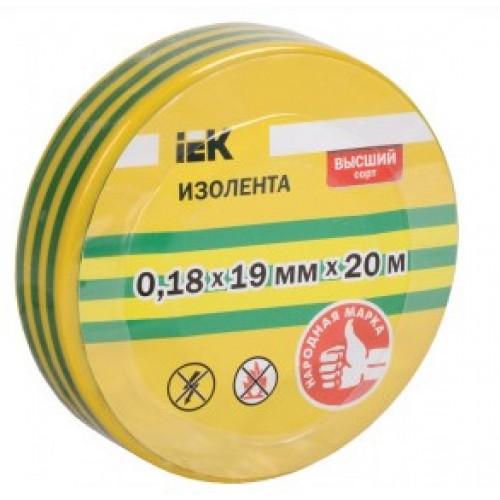 Изолента 0,18х19 мм желто-зеленая 20м ИЭК