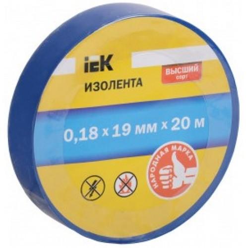Изолента 0,18х19мм синяя 20 м ИЭК (UIZ-20-10-K07)