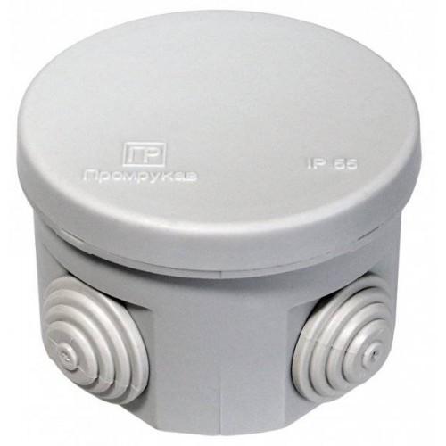 Коробка распаячная ОП 70х50 cерая с крышкой 4 ввода IP55 Промрукав 40-0110