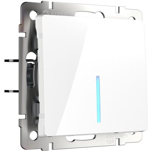 Выключатель 1кл. проходной с подсветкой белый WL01-SW-1G-2W-LED WERKEL