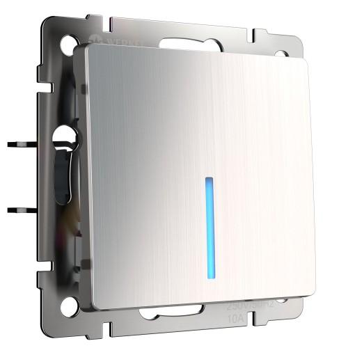 Выключатель 1кл. проходной с подсветкой глянцевый никель WL02-SW-1G-2W-LED WERKEL