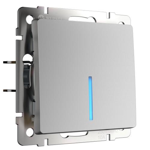 Выключатель 1кл. проходной с подсветкой серебро WL06-SW-1G-2W-LED WERKEL