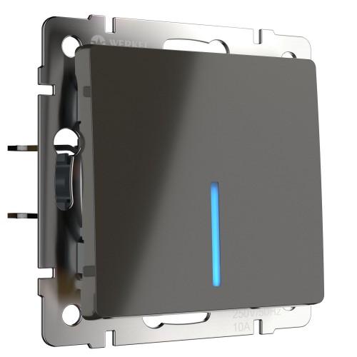 Выключатель 1кл. проходной с подсветкой серо-коричневый WL07-SW-1G-2W-LED WERKEL