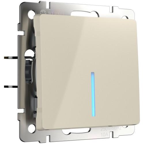 Выключатель 1кл. проходной с подсветкой слоновая кость WL03-SW-1G-2W-LED WERKEL