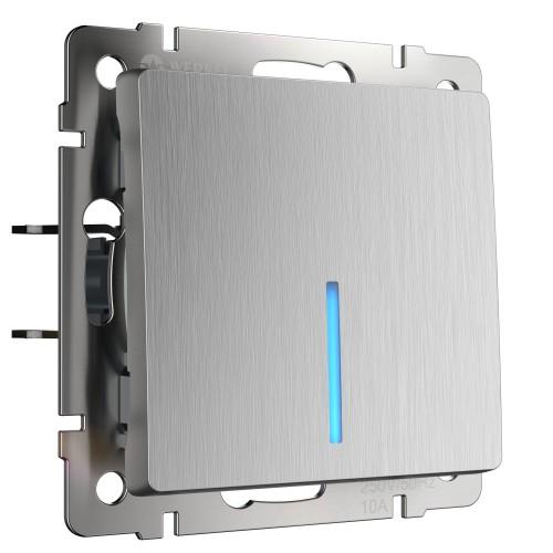 Выключатель 1кл. проходной серебро рифленый WL09-SW-1G-2W WERKEL