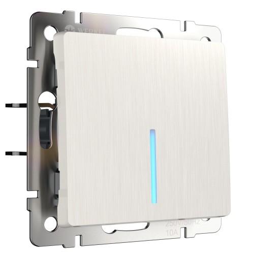 Выключатель 1кл. с подсветкой перламутр рифлёная WL13-SW-1G-LED WERKEL