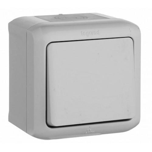 Выключатель QUTEO 1кл. откр. уст. 10A IP44 серый Legrand