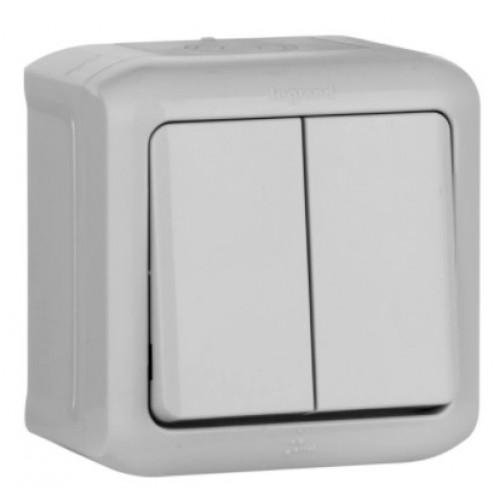 Выключатель QUTEO 2кл. открыт. уст. 10A IP44 серый Legrand