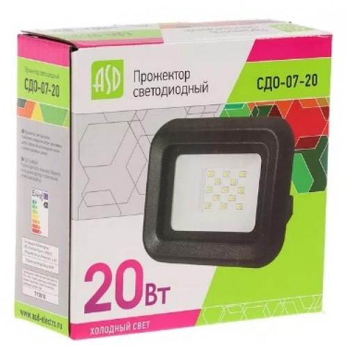 Прожектор светодиодный СДО-07-20 20Вт 230В 6500К IP65 ASD