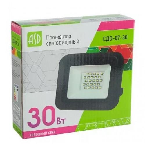 Прожектор светодиодный СДО-07-30 30Вт 230В 6500К IP65 ASD