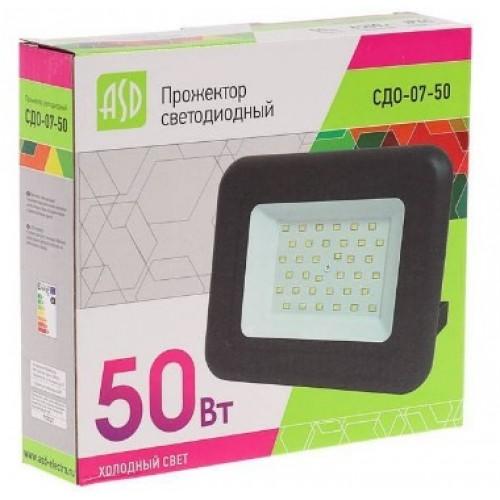 Прожектор светодиодный СДО-07-50 50Вт 230В 6500К IP65 ASD