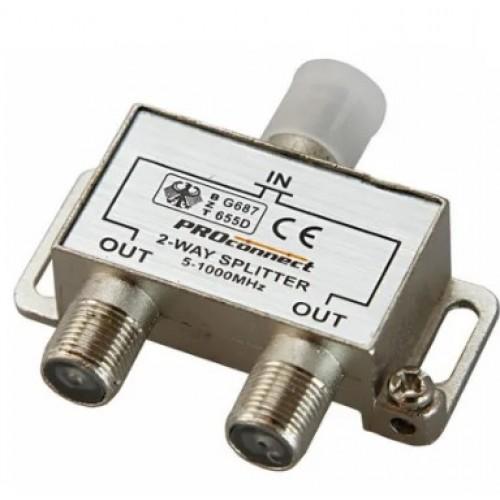 TV разветвитель на 2 выхода под F-разъем 5-1000 МГц (краб) PROCONNECT 05-6021