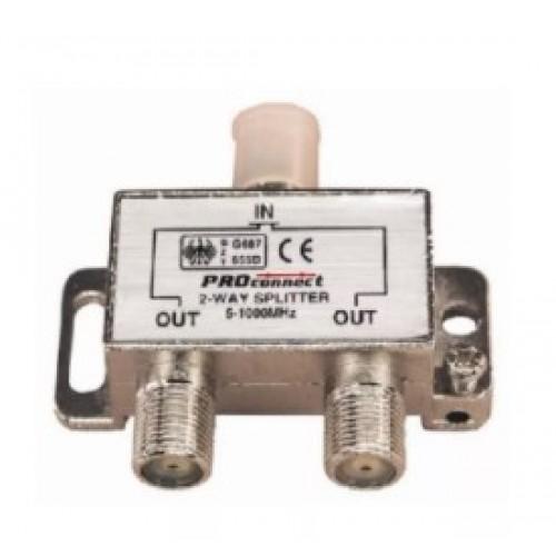 TV разветвитель на 2 выхода под F-разъем 5-1000 МГц (краб) PROCONNECT 05-6021-9
