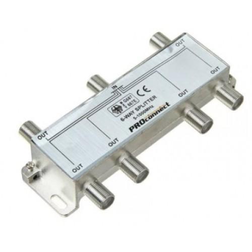 TV разветвитель на 6 выхода под F-разъем 5-1000 МГц PROCONNECT (краб) 05-6024