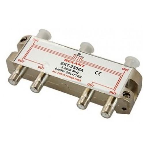 TV разветвитель на 6 выходов под F-разъем 5-2500 МГц СПУТНИК REXANT (краб) 05-6204