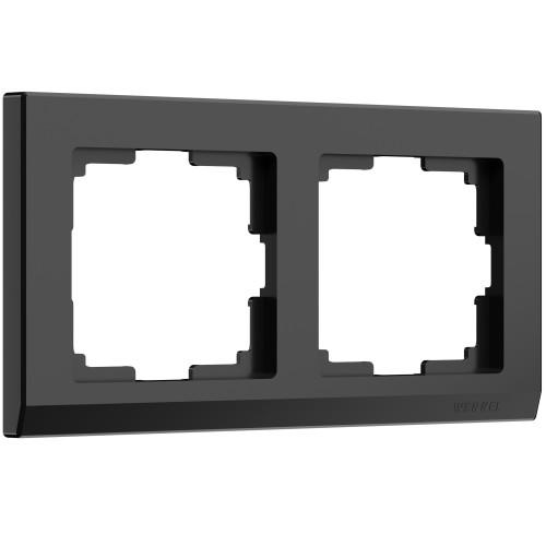 Рамка 2 поста черный WL04-Frame-02 WERKEL