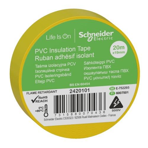 Изолента ПВХ 19мм х20м желтая 2420101 Schneider
