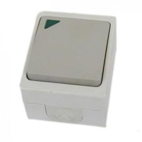 Выключатель ВУОКСА 1кл. с подсветкой открытой установки IP54 10A TDM