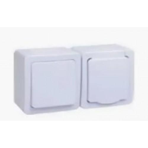 """Блок """"Выключатель 1кл.+розетка с белой крышкой"""" ГЕРМЕС PLUS ИЭК"""